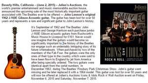ジョン・レノン、50年間行方不明だったギターが史上最高値で落札